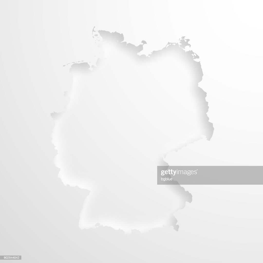Germany map with embossed paper effect on blank background