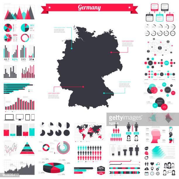 deutschland karte mit infografik elemente - große kreativ-grafik-set - diagramm stock-grafiken, -clipart, -cartoons und -symbole