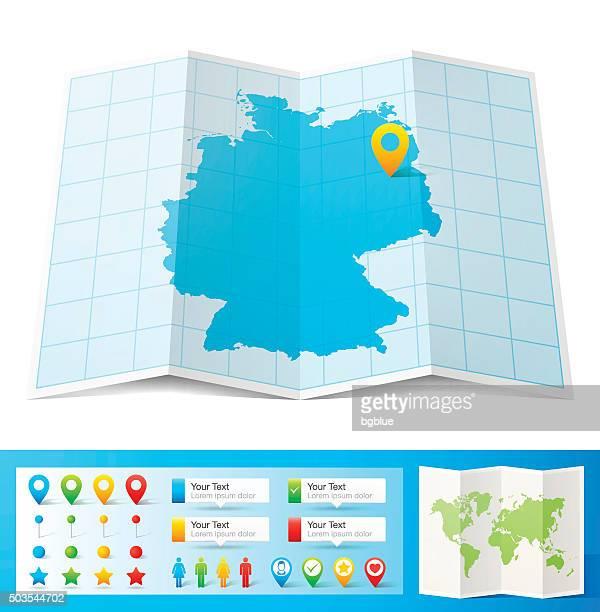 Allemagne Carte et emplacement pins isolé sur fond blanc