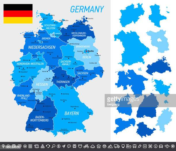 germany map with national flag, separated provinces and navigational icons - north rhine westphalia stock illustrations