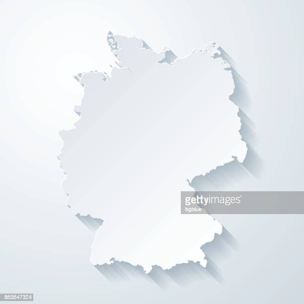 germany map with paper cut effect on blank background - germany stock illustrations, clip art, cartoons, & icons