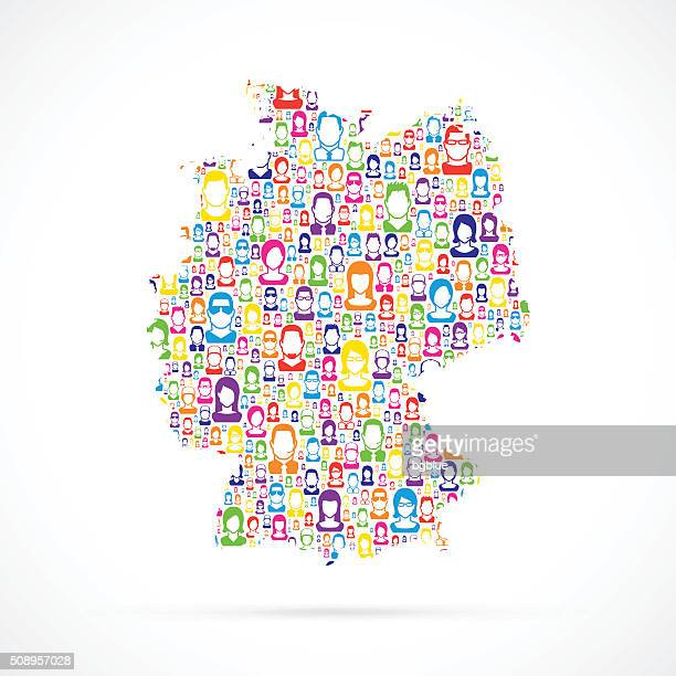 deutschland-karte mit personen - große personengruppe stock-grafiken, -clipart, -cartoons und -symbole