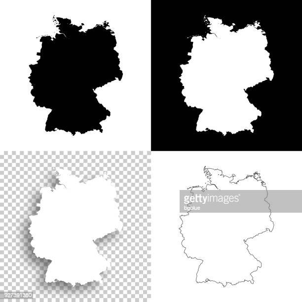 germany maps for design - blank, white and black backgrounds - germany stock illustrations, clip art, cartoons, & icons