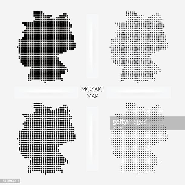 germany maps - mosaic squarred and dotted - germany stock illustrations, clip art, cartoons, & icons
