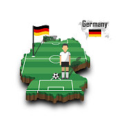 Germany national soccer team . Football player and flag on 3d design country map
