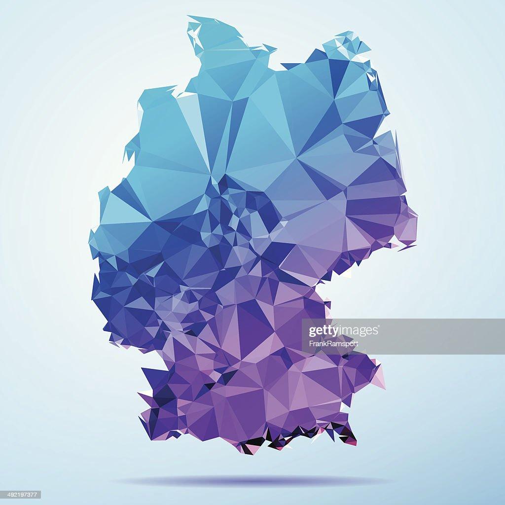 Deutschland Polygon Triangle Karte Blau : Stock-Illustration