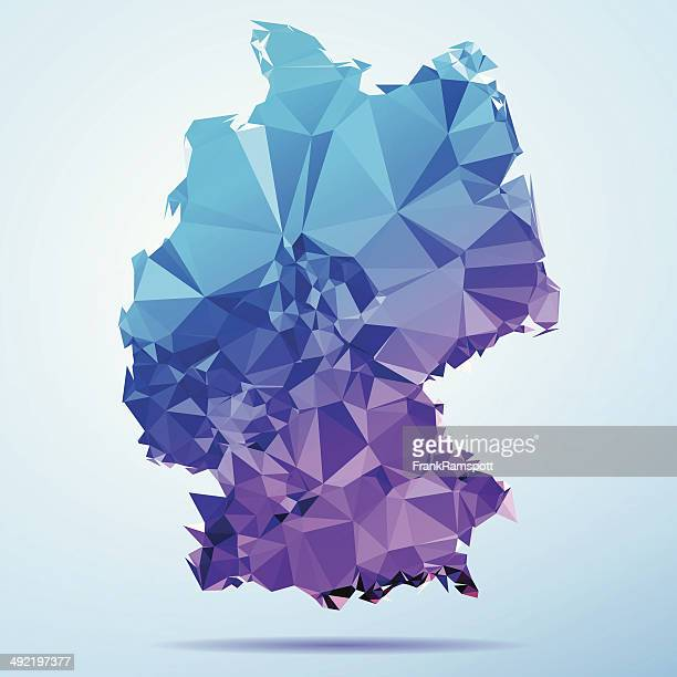 germany polygon triangle map blue - germany stock illustrations, clip art, cartoons, & icons