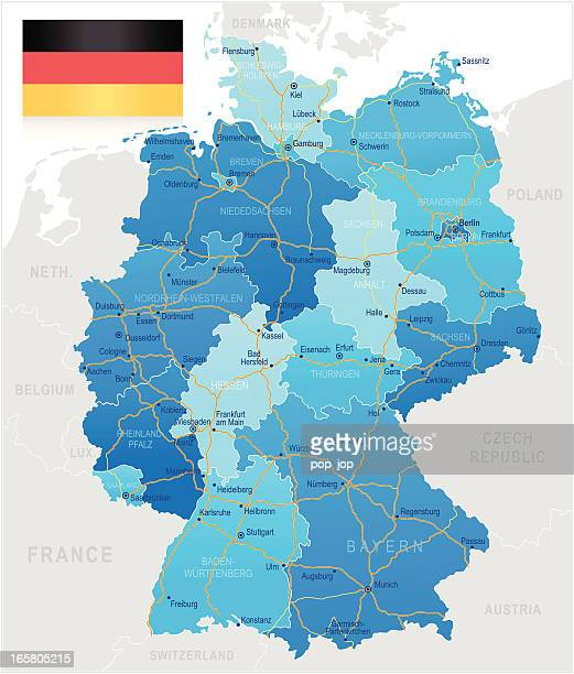 germany - road map - germany stock illustrations, clip art, cartoons, & icons