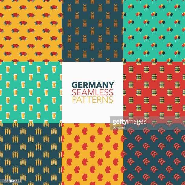 deutschland-nahtlose muster-set - bratwurst stock-grafiken, -clipart, -cartoons und -symbole