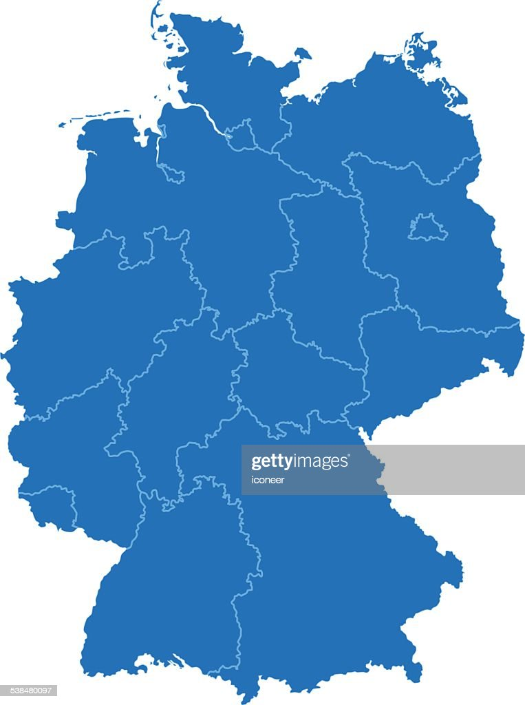 Simple Map Of Germany.Germany Simple Blue Map On White Background Stock Illustration