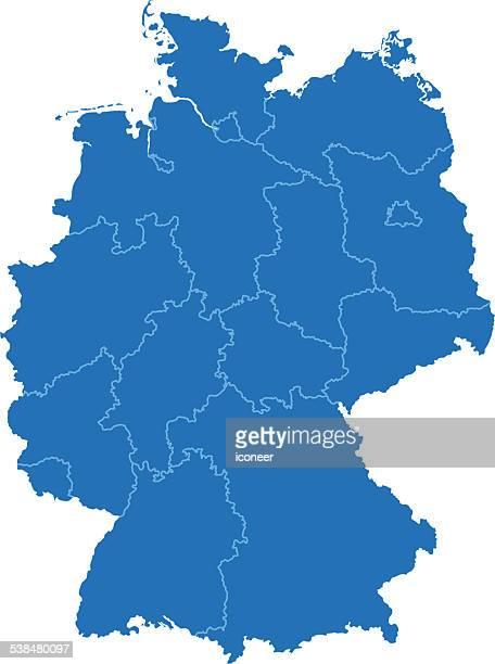Allemagne simple carte bleue sur fond blanc