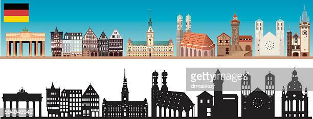 germany skyline - brandenburg gate stock illustrations, clip art, cartoons, & icons
