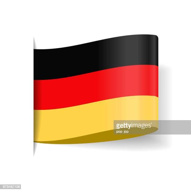 deutschland - tag label vector flache flaggensymbol - deutsche flagge stock-grafiken, -clipart, -cartoons und -symbole