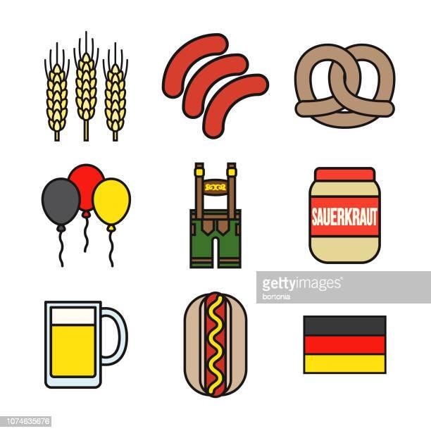 deutschland-dünne linie-icon-set - bratwurst stock-grafiken, -clipart, -cartoons und -symbole