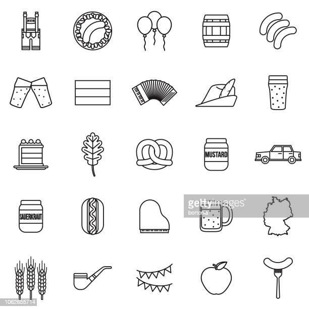 deutschland-dünne linie-gliederung-icon-set - bratwurst stock-grafiken, -clipart, -cartoons und -symbole