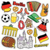 Germany Travel Scrapbook Stickers, Patches, Badges