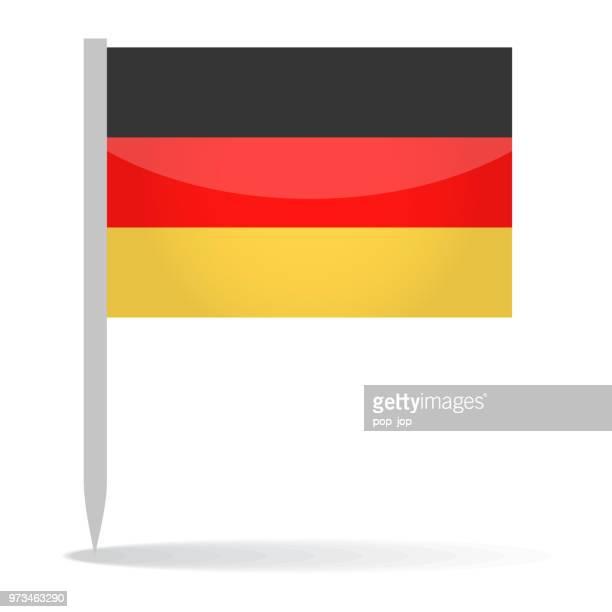 deutschland - vektor pin glänzend flaggensymbol - deutsche flagge stock-grafiken, -clipart, -cartoons und -symbole