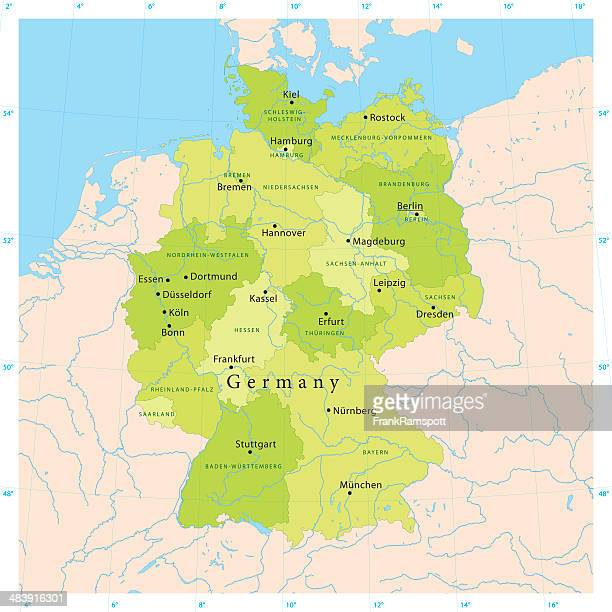 germany vector map - germany stock illustrations, clip art, cartoons, & icons