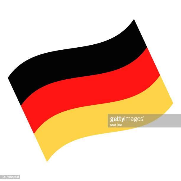 deutschland - winken flaggensymbol vektor flach - deutsche flagge stock-grafiken, -clipart, -cartoons und -symbole