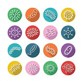 Germs and Bacteria Icon Set - vector illustration