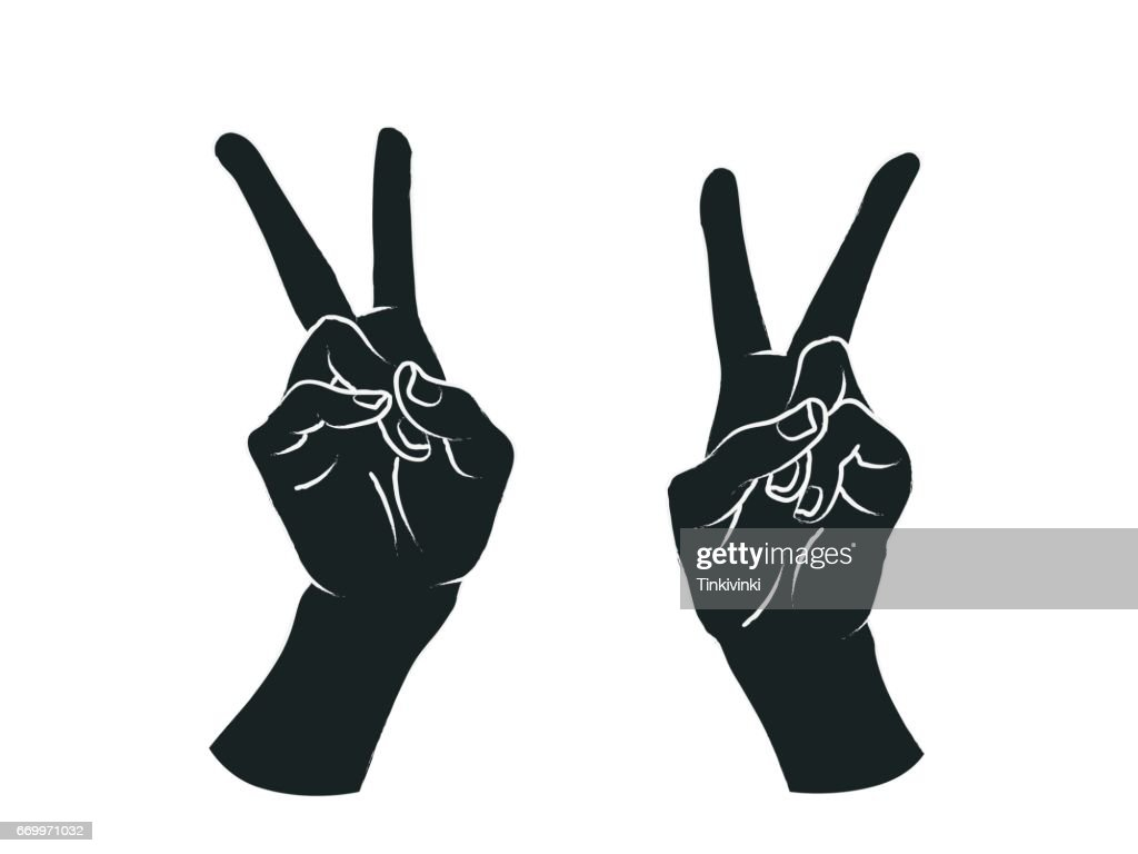 Gesture. Female hands in the form of V letter. Victory. Vector.