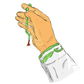 gesture hand pray for god using prayer beads or tasbih