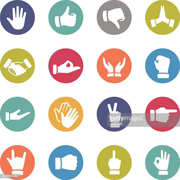 gesture icons - circle series - thumbs down stock illustrations