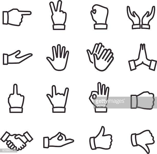 gesture icons - line series - thumbs down stock illustrations