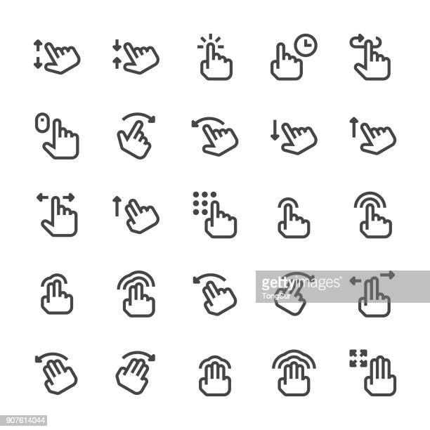 gesture icons - mediumx line - gesturing stock illustrations, clip art, cartoons, & icons