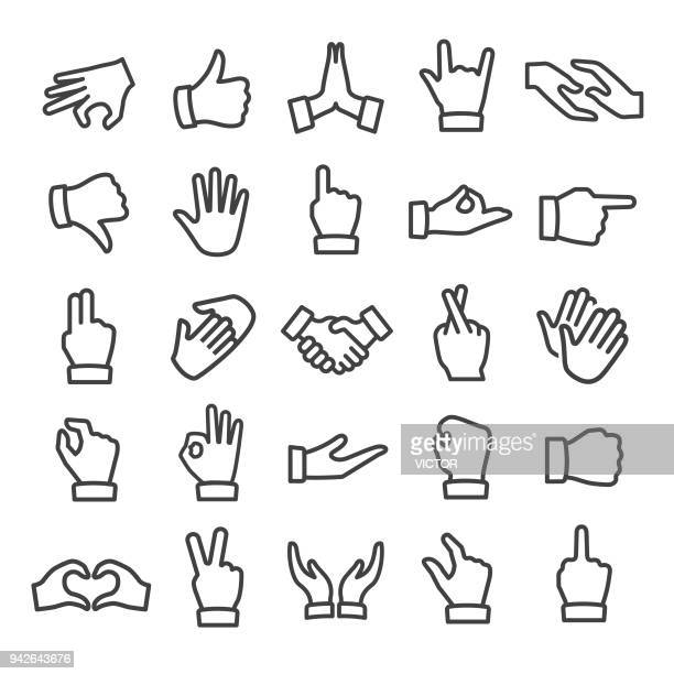 gesture icons - smart line series - hand stock illustrations