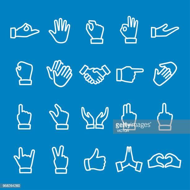 geste icons - vektor-smart line-serie - hände verschränken stock-grafiken, -clipart, -cartoons und -symbole