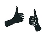 Gesture. Like sign. Two female hands with thumbs up.