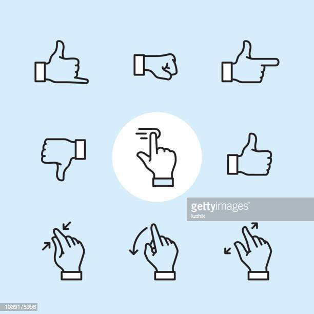 gesture - outline icon set - thumbs down stock illustrations