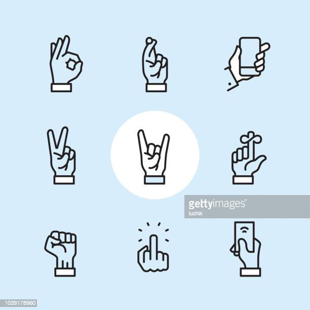 gesture - outline icon set - hand sign stock illustrations