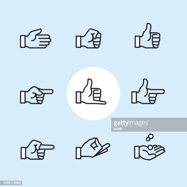 gesture - outline icon set - zen like stock illustrations