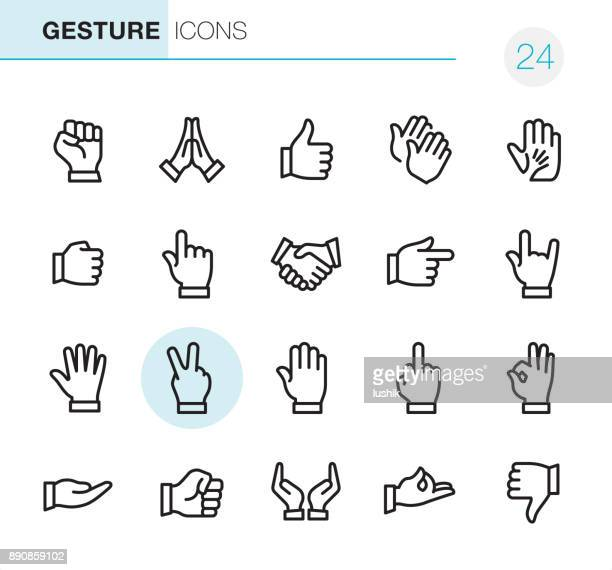 gesture - pixel perfect icons - number 1 stock illustrations, clip art, cartoons, & icons