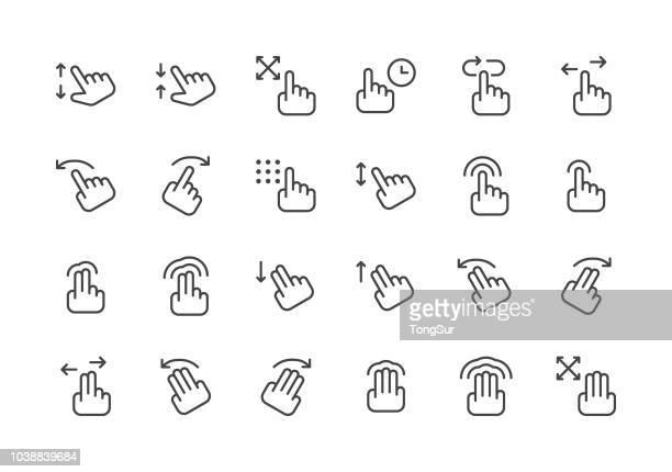 ジェスチャー - 規則的なライン アイコン - 身ぶり点のイラスト素材/クリップアート素材/マンガ素材/アイコン素材