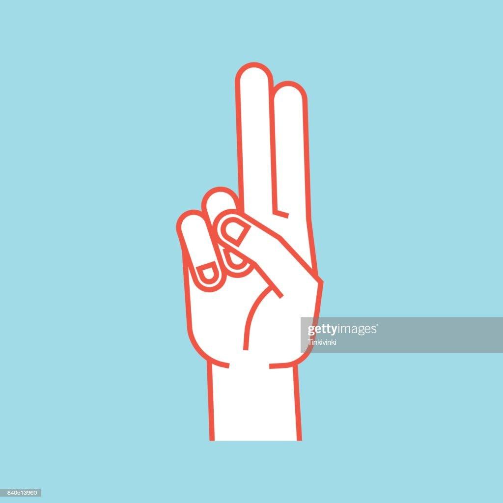Geste Stilisierte Hand Mit Zeige Und Mittelfinger Zu Verbinden Und ...