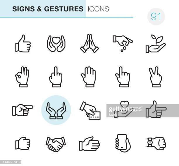 gestures - pixel perfect icons - hand stock illustrations