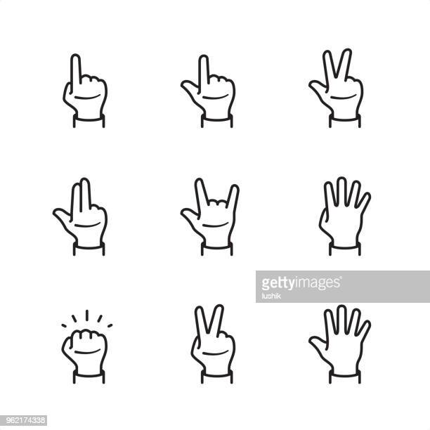 gestures with fingers - pixel perfect outline icons - human limb stock illustrations