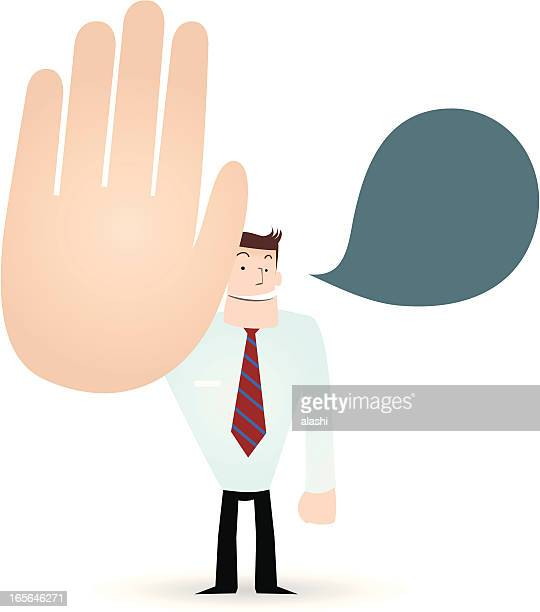 gesturing(hand sign): businessman( teacher ) showing stop! ( hold on! no! ) - refusing stock illustrations, clip art, cartoons, & icons