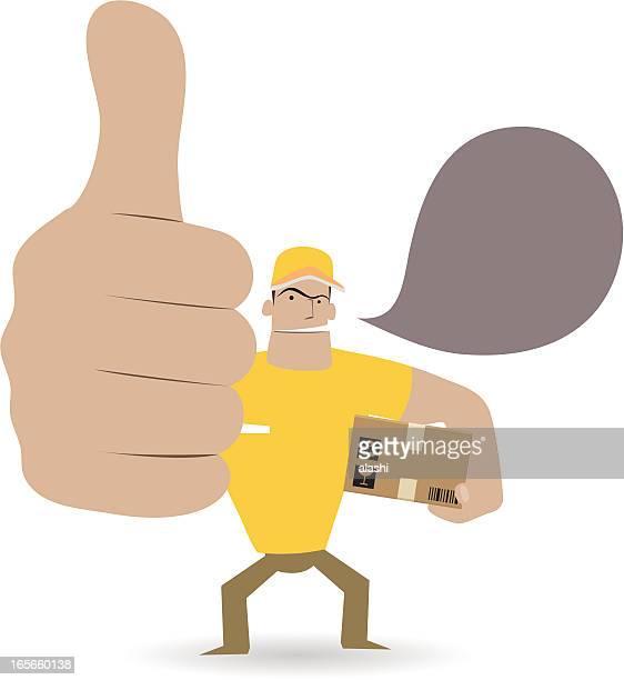 illustrations, cliparts, dessins animés et icônes de gestes (geste de la main): livreur montrant thumbs up - applauding