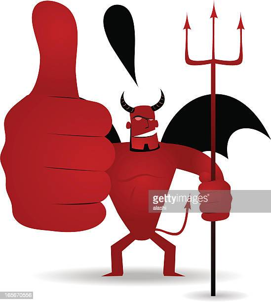gesturing: demon holding trident and showing thumbs up sign - applauding stock illustrations, clip art, cartoons, & icons