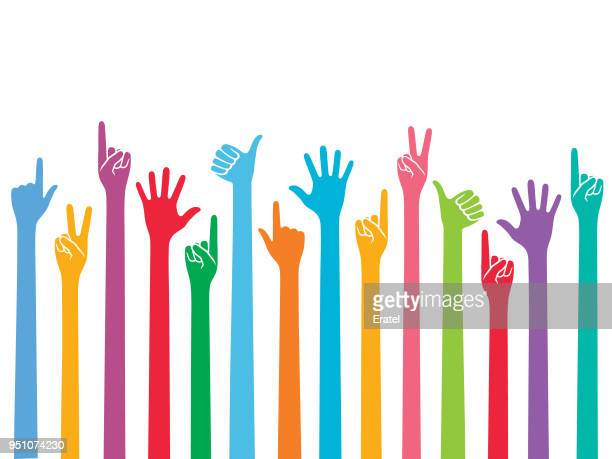 gesturing hands raised up - peace sign stock illustrations, clip art, cartoons, & icons