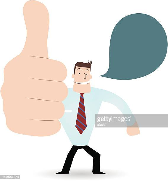 gesturing(hand sign): happy businessman(teacher) showing thumbs up (approval) - applauding stock illustrations, clip art, cartoons, & icons