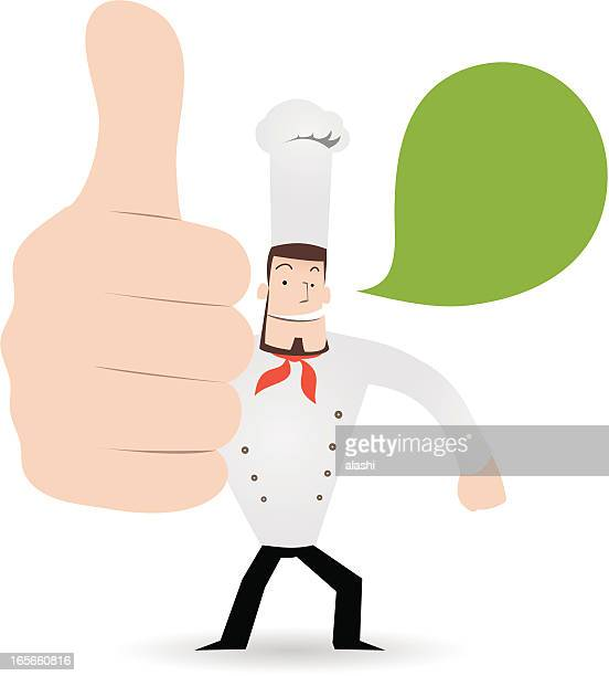 gesturing(hand sign): happy chef showing thumbs up - glühend stock illustrations