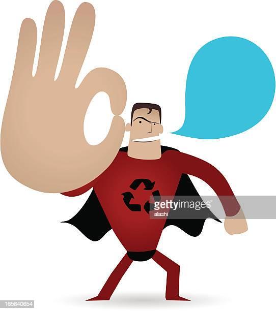illustrations, cliparts, dessins animés et icônes de gestes (geste de la main): super-héros montrant ok geste (parfait! ) - applauding