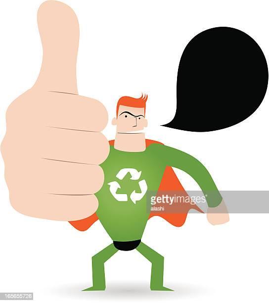 身ぶり(手動サイン):スーパーヒーローを示す親指を立てる