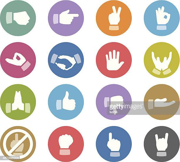 gesturing / wheelico icons - thumbs down stock illustrations