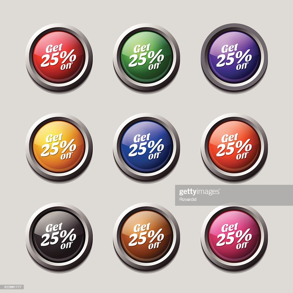 Get 25 Percent Colorful Vector Icon Design